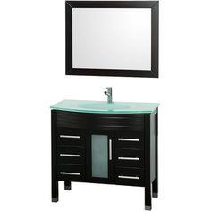Bridget Ashlyn Espresso/ Glass 36-inch Single Bathroom Vanity Set
