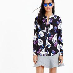 "A collarless blouse in silk georgette with a pretty poppy print—perfect. <ul><li>Body length: 27 1/2"".</li><li>Silk/elastane.</li><li>Button placket.</li><li>Dry clean.</li><li>Import.</li><li>Select stores.</li></ul>"