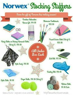I know, I know Christmas talk already but it's never to early you start your Christmas shopping and get everyone taken care of early! Norwex has tons of products from the women, men, children and pets on your life for christmas! Here are just a few good stocking stuffers all under $25!  Http://beccastanton.norwex.biz