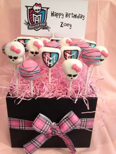 Monster High Cake Pops.  Check out Desserts on Delicious on Facebook.