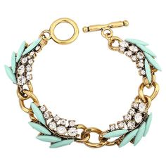 Add a pop of style to evening ensembles and work outfits alike with this handmade gold-plated bracelet, showcasing teal beads highlighted by shimmering rhine...