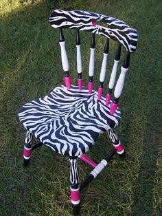 Zebra Stripes and Hot Pink Dinner Desk Chair For Girls OOAK. $85.00, via Etsy.