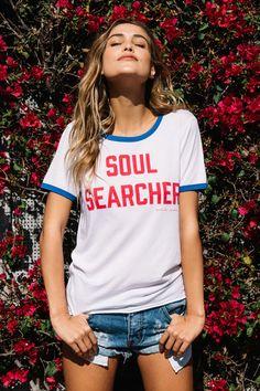 Soul Searcher Ringer Tee White