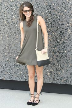 olive swing dress. so in love with those shoes! kaitandko.com