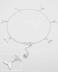 Sterling Silver Anklet decorated with silver bell and silver fins