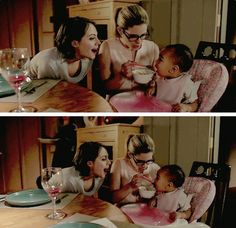 Felicity & Thea feeding baby Sara #Arrow #3x21 #Season3 Please let these wonderful people have more scenes