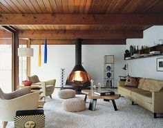 Design Idea – Faux Wood Beams & Planks only with white planks to cover the ugly popcorn ceiling Wood Plank Ceiling, Wooden Ceilings, Interior Exterior, Interior Design, Interior Photo, Living Room Scandinavian, Scandinavian Design, Faux Wood Beams, Living Room With Fireplace