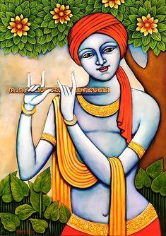 Pichwai Paintings, Indian Art Paintings, Modern Art Paintings, Durga Painting, Kerala Mural Painting, Krishna Drawing, Krishna Art, Madhubani Art, Madhubani Painting
