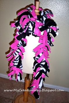 Zebra Fleece Boa Scarf ~ so easy to make and they make great gifts!