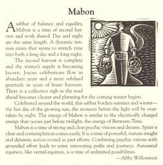 """Autumn Equinox:  """"Mabon,"""" by Abby Willowroot. Time of strong and clear psychic visions and dreams. Last day of the growing sun"""