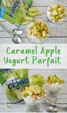 These simple caramel apple parfaits need only 4 ingredients and are perfect for a healthy snack or breakfast that kids can easily assemble themselves! Healthy Appetizers, Healthy Breakfast Recipes, Healthy Treats, Snack Recipes, Healthy Yogurt Parfait, Quick Snacks, Kid Friendly Meals, 4 Ingredients, Fruits And Veggies