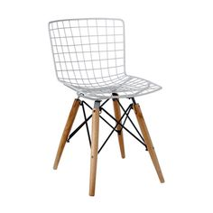 Showcase your artistic side with the Farmer's Chickenwire Chair. A wire lattice seat updates the classic saddle form, while splayed wooden legs partner with sleek black metal. Artistic and sculptural, ...  Find the Farmer's Chickenwire Chair in White, as seen in the Bleached Mid-Century Collection at http://dotandbo.com/collections/bleached-mid-century?utm_source=pinterest&utm_medium=organic&db_sku=101348