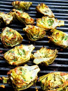 grilled artichokes. A very detailed recipe with instructions on how to cut the artichoke, boil & marinate it before you grill! Trust me! Its a good one!
