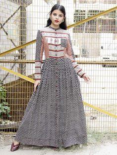 Black-Red Block Printed Cotton Mul Rose Dress