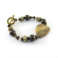 Bronze Beaded Bracelet Earthy Petrified Wood by CinLynnBoutique, $22.00