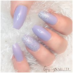Lilac Nails With Glitter, Lilac Nails Design, Purple Acrylic Nails, Lavender Nails, Silver Nails, Best Acrylic Nails, White Nails, Glitter Nails, Silver Glitter