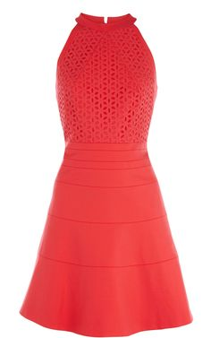 Karen Millen Cotton Tailored Dress coral ,fashion  Karen Millen Solid Color Dresses outlet