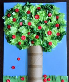 """apple tree! Absolutely love this!!! How colorful and creative for a fall project while learning agriculture and healthy eating. Great project to go along with """" Curious George, Apple Harvest"""""""
