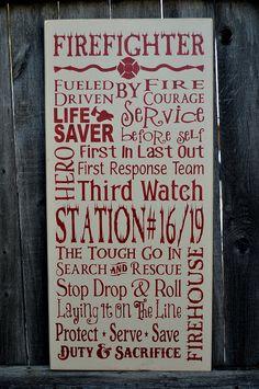 Firefighter Wall Art firefighter subway wall art, firefighter decor, distressed wall