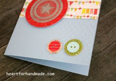 Happy birthday card with diecut button and silver embossing