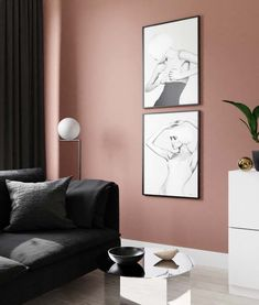 See how we decorated and styled our interior with the amazing color Warm Blush 2856 by Jotun Lady. Black and white posters are key in this article! Blush Walls, Blush Bedroom, Interior Walls, Interior Design, Farrow And Ball Paint, Bedroom Posters, Cool Wall Art, Black And White Posters, Wall Colors