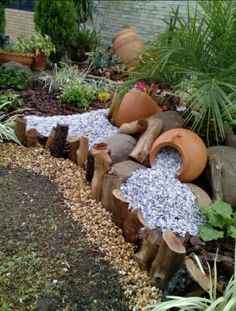 Spilling flowerpot ideas for the landscape. Whether it's fountains spilling water into a water feature, or colored gravel or stones … – Container Water Gardens - Alles für den Garten Garden Fountains, Garden Pots, Landscape Fountains, Garden Globes, Fountain Garden, Landscape Bricks, Garden Benches, Water Fountains, Garden Seating