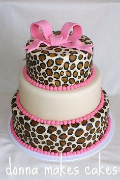 Pink cheetah cake