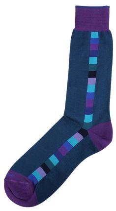 Buy Duchamp Vertical Squares Socks - Navy/Purple at KJ Beckett. Shop for navy socks by Duchamp online today. Funky Socks, Crazy Socks, Colorful Socks, My Socks, Socks Men, Fashion Socks, Mens Fashion, Argyle Socks, Work Socks