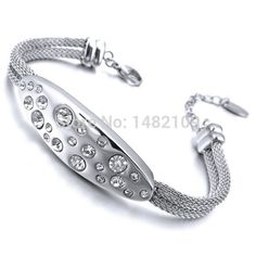 >> Click to Buy << Women's Stainless Steel Bracelet Bangle CZ Silver Elegant Free Shipping #Affiliate