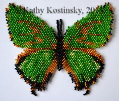 Beaded Butterfly Chrysozephyrus Brilliiantinus Pattern at Sova-Enterprises.com