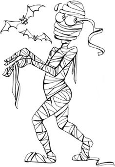 Halloween preschool coloring pages, mummy printable coloring book pages