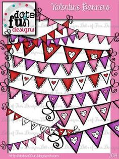 Valentine Banners ~Dots of Fun Designs {FREE}
