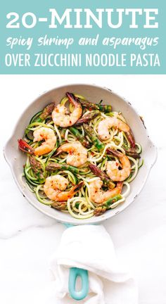 This healthy garlic shrimp and asparagus zucchini noodle pasta requires only 10 ingredients and about 20 minutes to whip up! It's the perfect quick and easy weeknight meal.  #shrimp #zoodles #zucchininoodles #zucchini #lowcarb #eatingbirdfood #weeknightdinner Spicy Shrimp, Garlic Shrimp, Beef Recipes, Vegan Recipes, Vegan Food, Healthy Weeknight Meals, Shrimp And Asparagus, Spiralizer Recipes, Health Eating