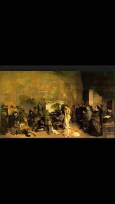 Gustave Courbet, interieur van mijn atelier, een reële allegorie die zeven jaar van mijn leven als kunstenaar samenvat, 1854-1855 Het is een symbolische weergave van zeven jaren van het kunstleven van Courbet. Kenmerkend zijn de sombere kleuren die, in overeenstemming met het sombere bestaan van de arme ploeteraars, toegepast worden in de schilderijen waarop arbeiders afgebeeld zijn.