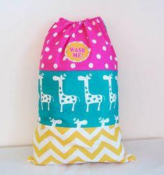 Child's Overnight Bag, Laundry Bag, Large 15 x 22 inches, Drawstring Bag, Giraffe, Polka Dots, Chevron Pattern on Etsy, £18.92