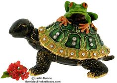 Trinket Box: Turtle and Frog Friends