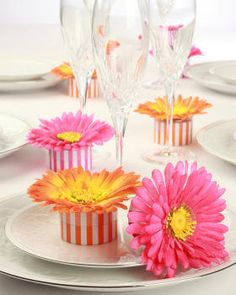Striped Gerber Daisy Favor Boxes #wedding #favor