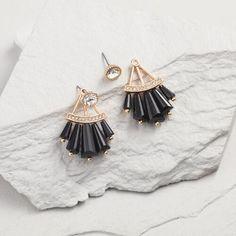 One of my favorite discoveries at WorldMarket.com: Black Fan Stud Earrings