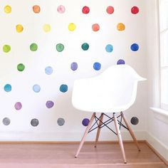 Small Rainbow Watercolor Dots are a set of Mej Mej fabric wall decals from the Color Story children's decor collection. Gray Painted Walls, Romantic Bedroom Decor, Kids Wall Decor, Wall Decals For Kids, Baby Room Decals, Creative Wall Decor, Polka Dot Wall Decals, Kid Decor, Wall Decals For Bedroom