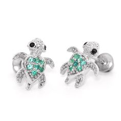 Sterling Silver Rhodium Plated Green Turtle Children Screwback Earrings Baby, Toddler & Kids - Jewelry For Her