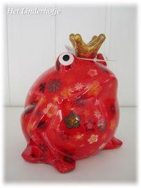 Spaarpot kikker rood kleine bloemetjes