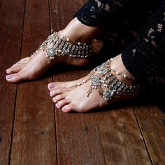 Ladies Barefoot Sandals Bohemian Bride Gold Pearl by ForeverSoles