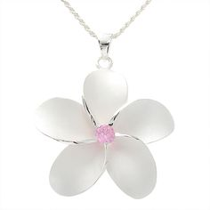 Plumeria Pink CZ Pendant Hawaiian Heirloom Jewelry