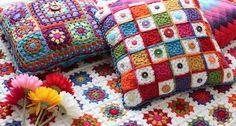 According to Matt...: Granny Square Button Cushion!