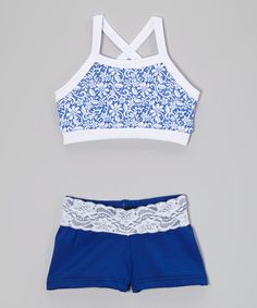 Look what I found on #zulily! Blue & White Lace Print Sports Bra & Shorts - Girls #zulilyfinds