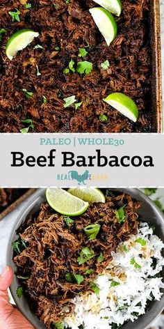 Make this Paleo + Whole30 beef barbacoa in your Instant Pot or Slow Cooker. It's a little smoky with some spice and citrus, and it makes lots of leftovers! | realsimplegood.com #paleo #whole30 #instantpot #slowcooker #crockpot