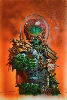 Calvin's Canadian Cave of Coolness: Mars Attacks Judge Dredd cover by Greg Staples Comic Book Covers, Comic Books Art, Book Art, Mars Attacks, Science Fiction Art, Pulp Fiction, Arte Tim Burton, Chasseur De Primes, Classic Sci Fi