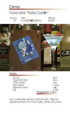 "Cirno- Frozen Drink ""Perfect Cooler"""