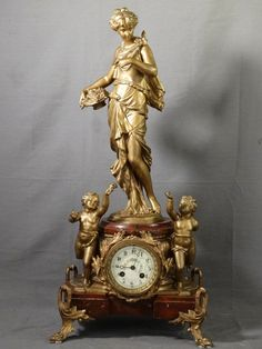 19thC antieke Art Nouveau Marble Japy Freres Figural Lady Statue Mantel Clock | eBay