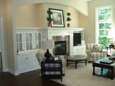 Put the tv next to the fireplace in a built-in cabinet. Description from pinterest.com. I searched for this on bing.com/images